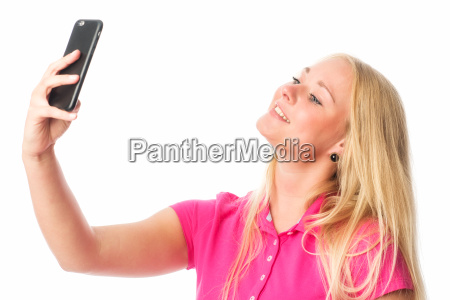 blonde girl makes a selfie