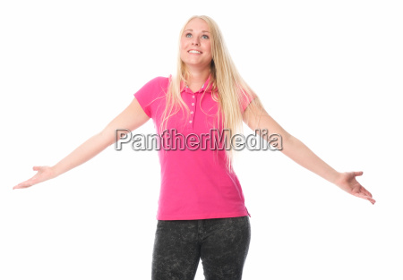 young woman lifts her arms