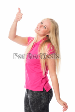 young blond woman showing thumbs up