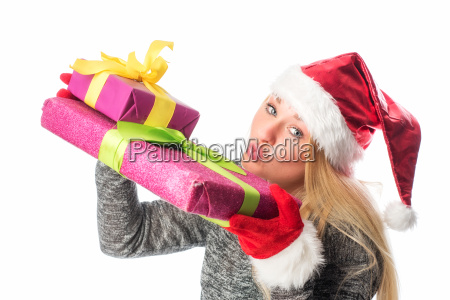 christmas woman with gifts makes a