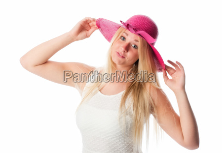 blonde with hat in portrait
