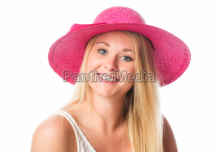 blond girl with straw hat in