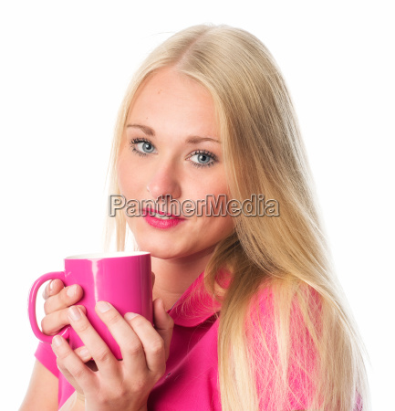 woman with coffee cup in portrait