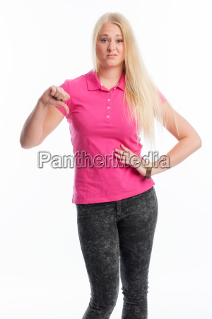 blonde woman showing thumbs down