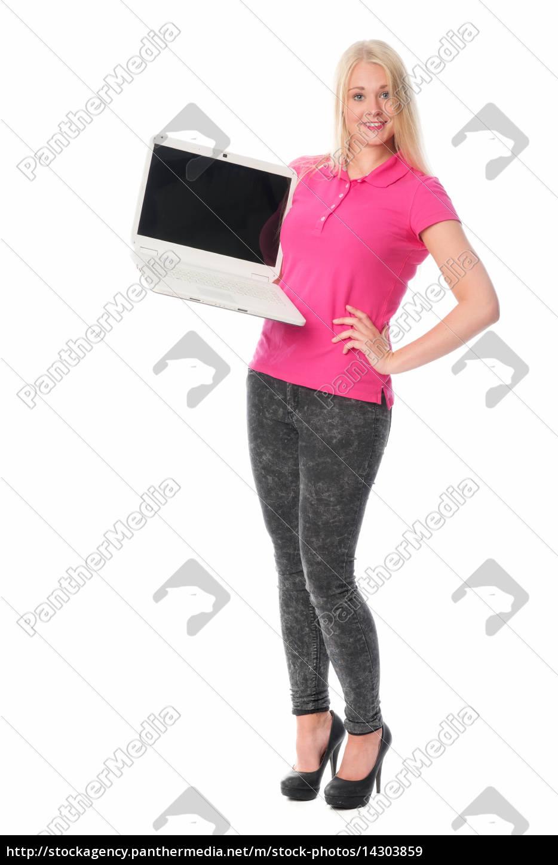 blonde, frau, mit, laptop, hält, eine - 14303859