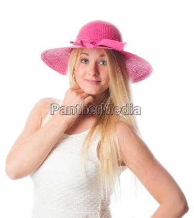 blondes, mädchen, mit, sommerhut - 14303897