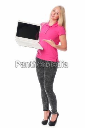 frau, am, laptop, hält, eine, präsentation - 14303847