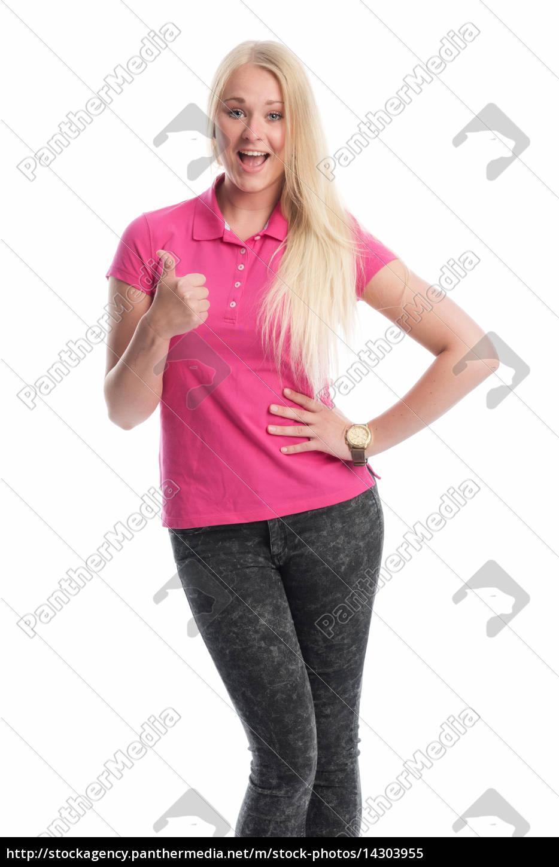 junge, blonde, frau, ist, glücklich, und - 14303955
