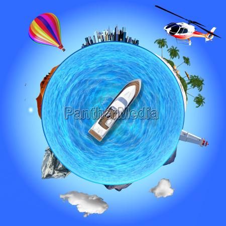 konzept illustration die mehrere reiseziele zeigt