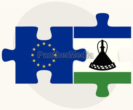 europaeische union und lesotho flaggen in