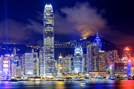 hong kong office buildings at night