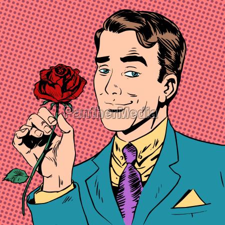 man flower dating love meeting art