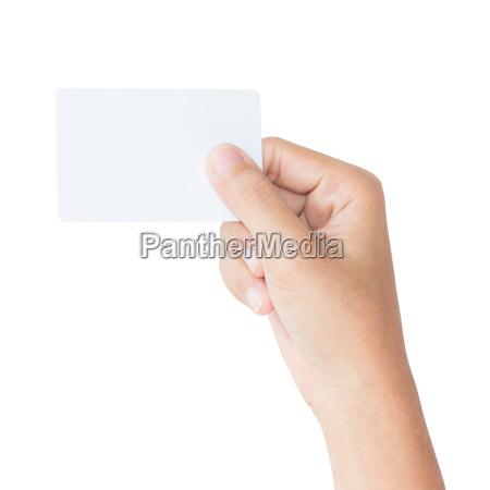 hand halten leere weisse karte mit