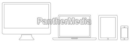moderne digitale tech geraetesammlung