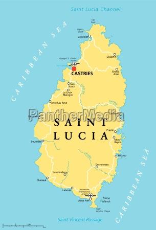saint lucia political map