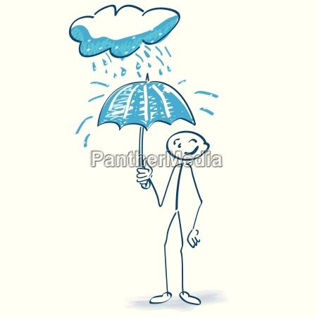 stick figure with umbrella