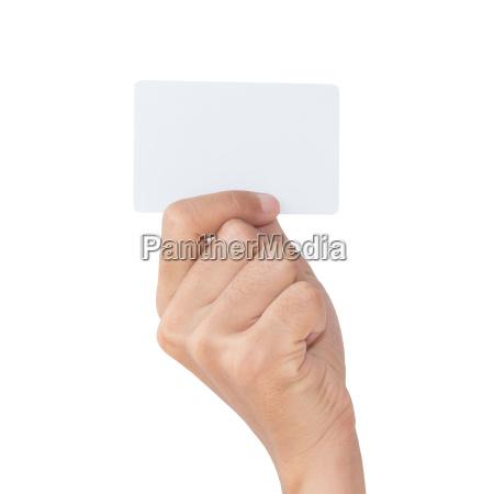 hand, halten, leere, weiße, karte, mit - 14316489