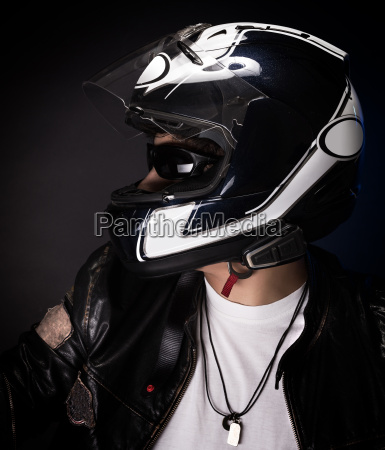 stylish biker portrait
