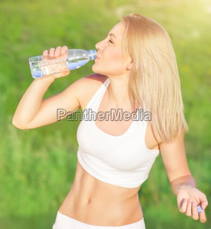 happy woman drink water