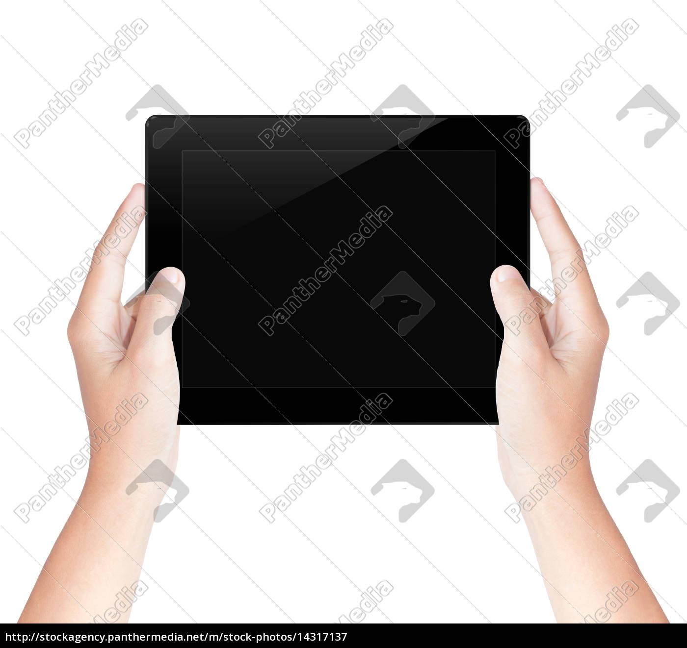 hand, halten, tablet-bildschirm, isoliert, mit, clipping-pfad - 14317137