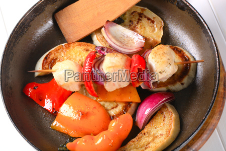 pan roasted vegetables and chicken skewer