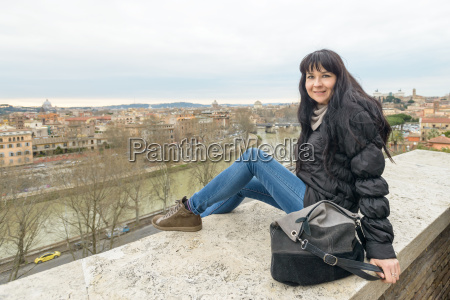 girl and landscape of rome