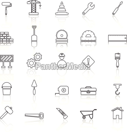 construction line icons with reflect on