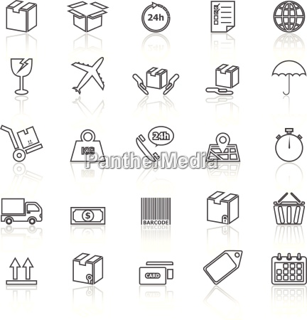 shipping line icons with reflect on