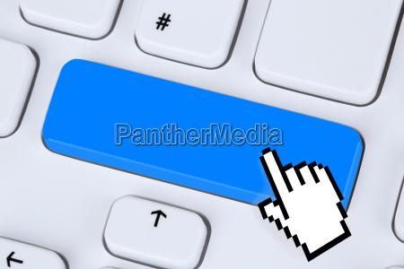 blaue eingabe taste im internet auf