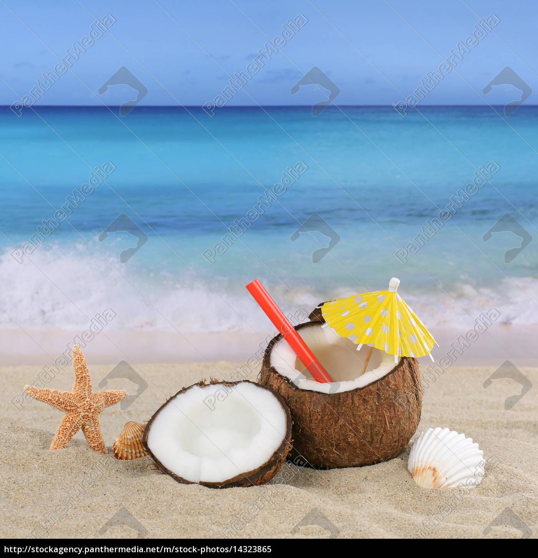 kokosnuss fr chte cocktail drink im sommer am strand lizenzfreies bild 14323865. Black Bedroom Furniture Sets. Home Design Ideas