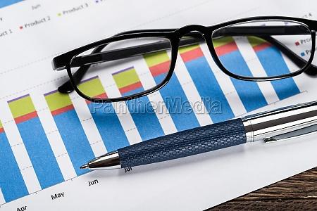finanzielle grafik mit brille und stift