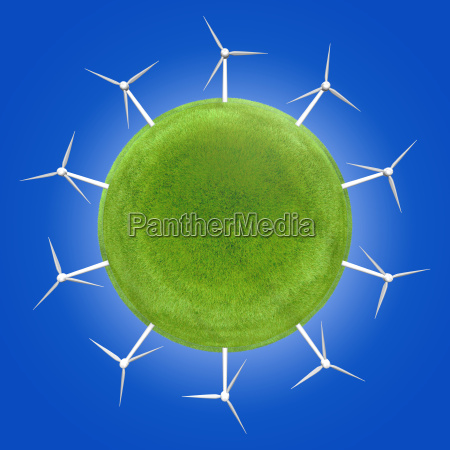 windkraftanlagen rund um einen gruenen planeten