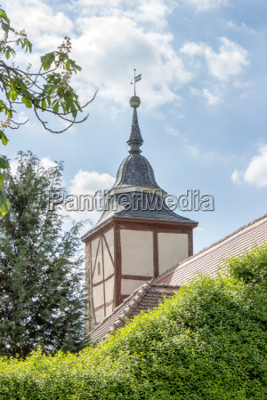 steeple of a small village church