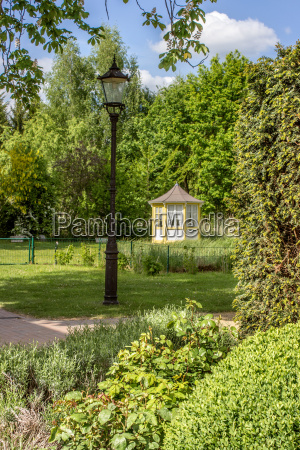 castle park with a small pavilion