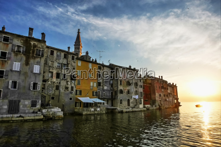buildings of rovinj at sunset