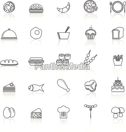 nahrungsmittellinie symbole mit auf weiss reflektieren