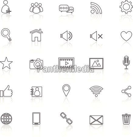 chat line icons with reflect on