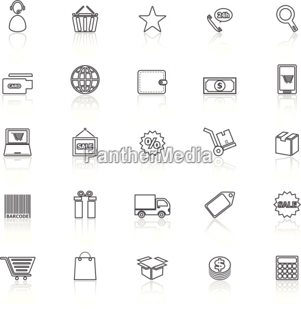 e commerce line icons with reflect