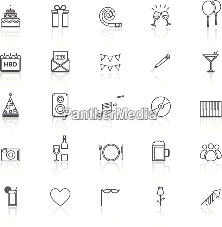 birthday line icons with reflect on