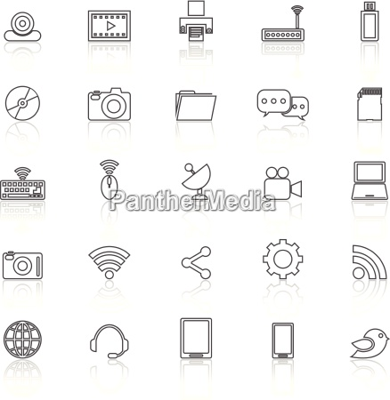 hi tech line icons with reflect