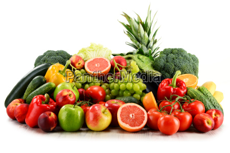 variety of organic vegetables and fruits