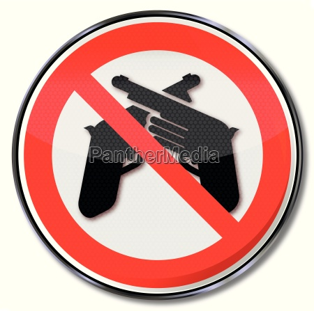 prohibition sign for weapons and gewallt