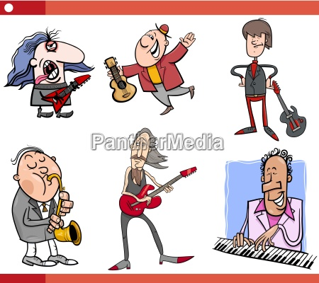 musiker zeichen gesetzt cartoon
