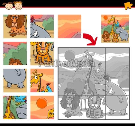 cartoon safari animals jigsaw game