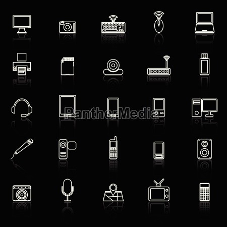 gadget line icons with reflect on