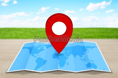 pin karte symbol auf einem blauen