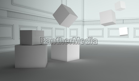 abstract retro interior with flying cubes