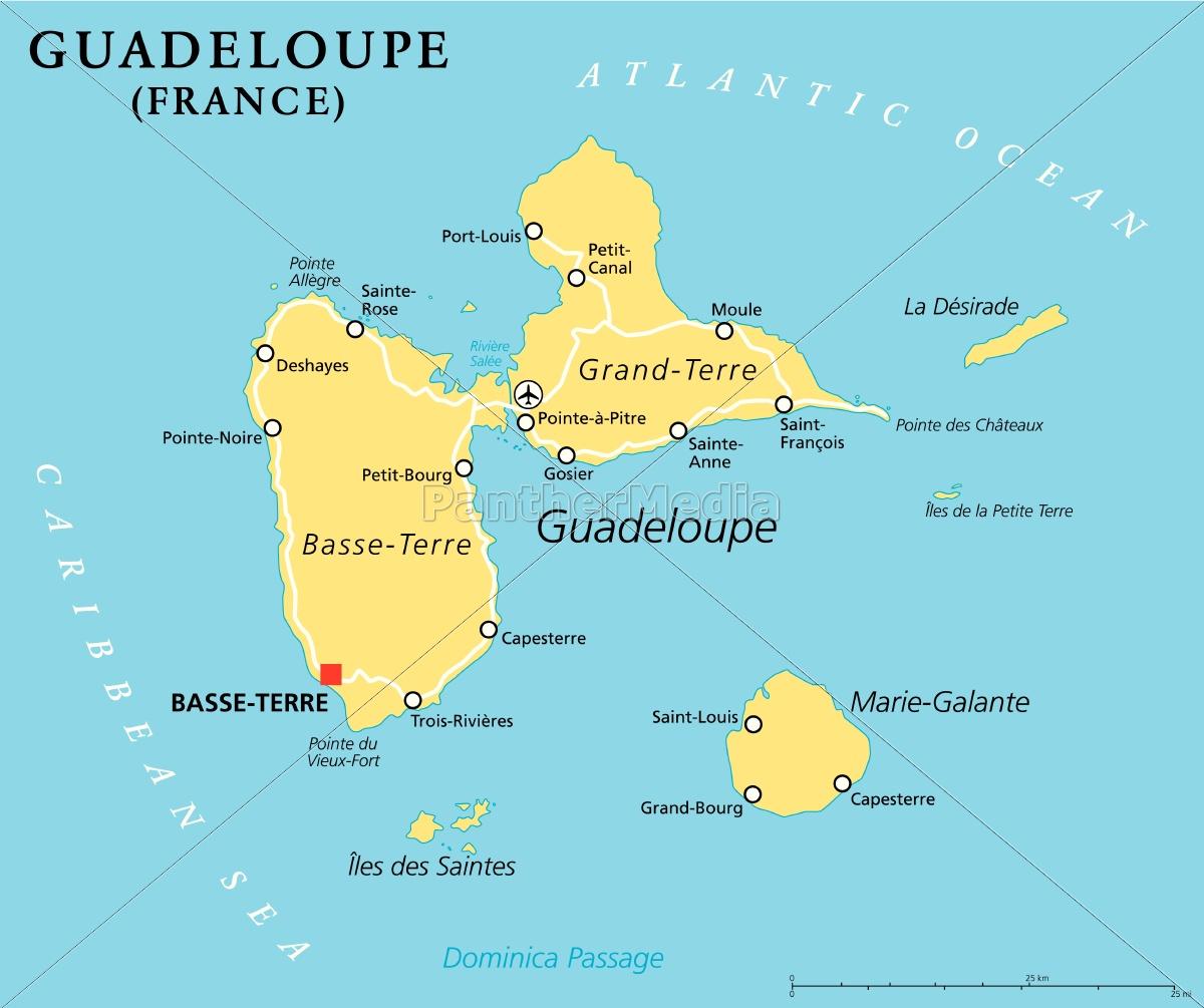 guadeloupe karte guadeloupe politische karte   Lizenzfreies Bild   #14364487