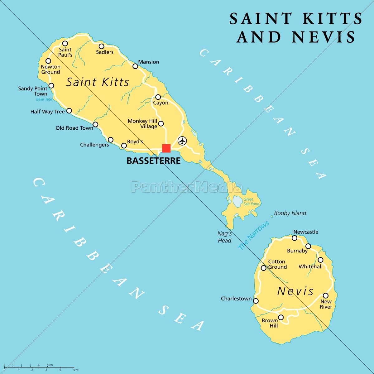 st. kitts und nevis politische karte - Lizenzfreies Bild - #14364485 ...