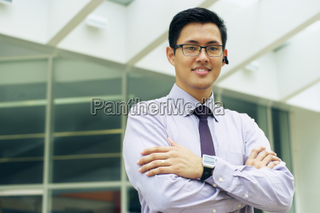 business man with smartwatch and bluetooth